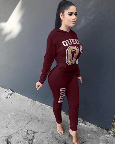 Wine Red Women's suit European and American long-sleeved hooded suit