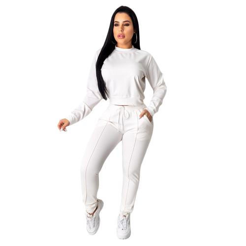 White Women's drawstring pants suit