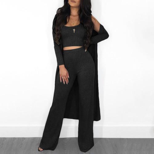 Black  Sleeve cloak vest pants women's clothing