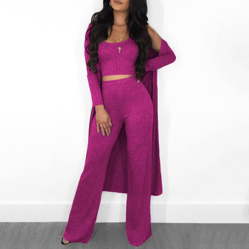 Purple  Sleeve cloak vest pants women's clothing
