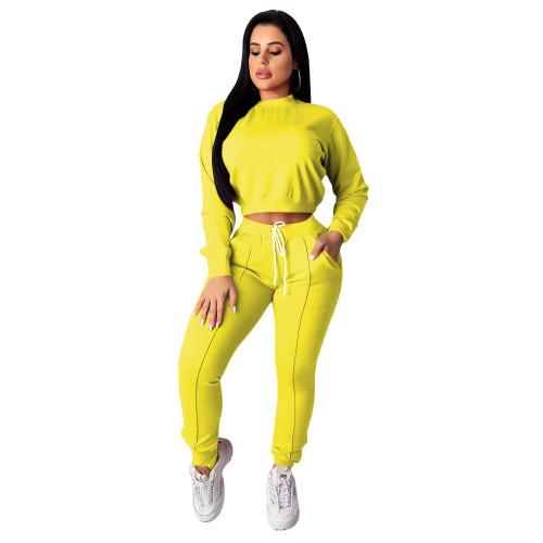 Yellow  Women's drawstring pants suit