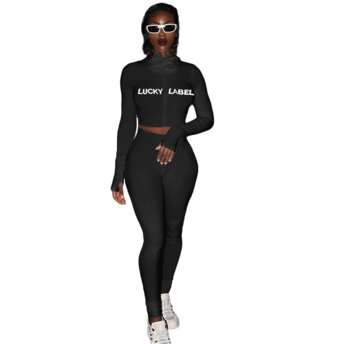 Black  High neck thread embroidery letters zipper sports two-piece suit
