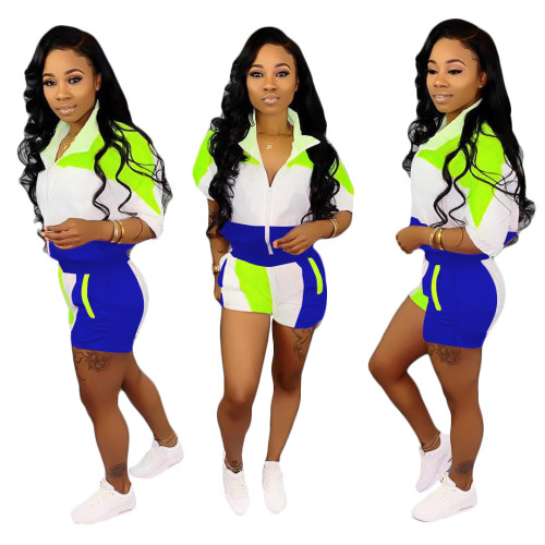 Sapphire  Stitching sleeves + shorts suit women