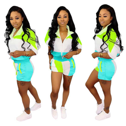 Green pink  Stitching sleeves + shorts suit women
