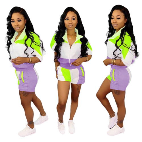 Purple Stitching sleeves + shorts suit women
