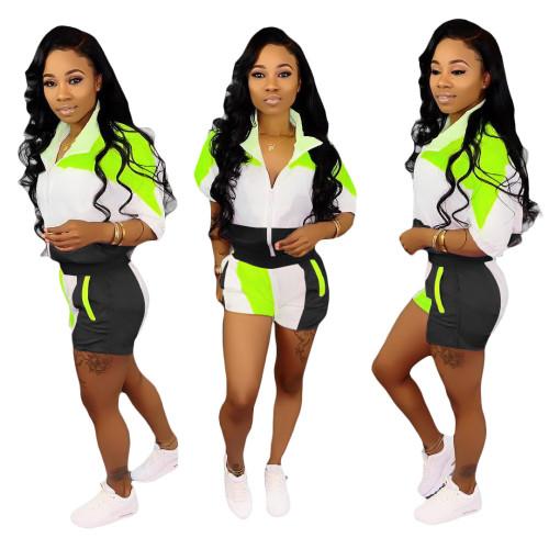 Black   Stitching sleeves + shorts suit women