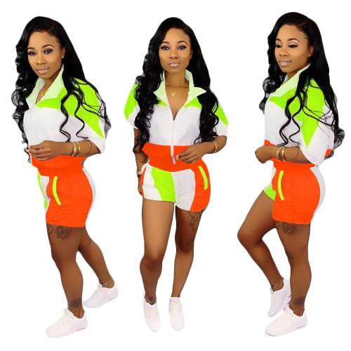 Orange  Stitching sleeves + shorts suit women