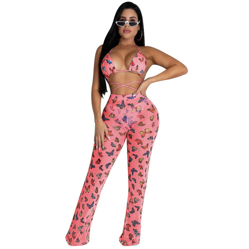 Pink butterfly   Two-piece bikini ruffled wide-leg pants