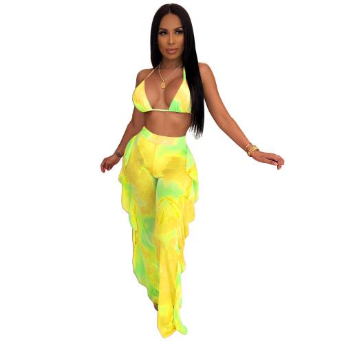 Yellow  Two-piece bikini ruffled wide-leg pants