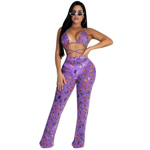Purple butterfly Two-piece bikini ruffled wide-leg pants