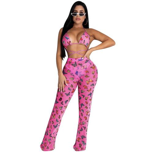 Rose Red Butterfly   Two-piece bikini ruffled wide-leg pants