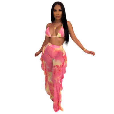 Pink  Two-piece bikini ruffled wide-leg pants