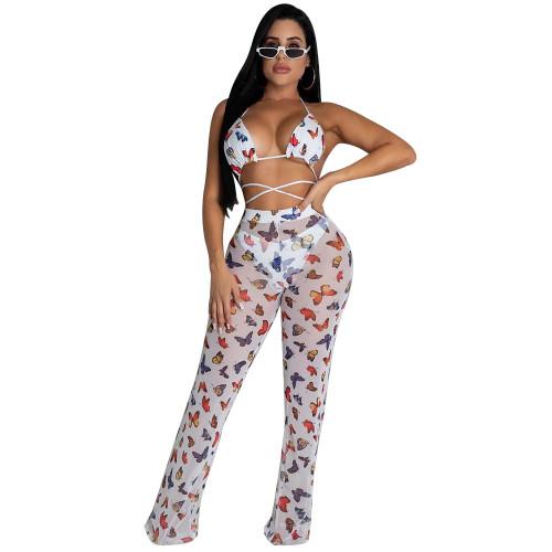 White butterfly  Two-piece bikini ruffled wide-leg pants