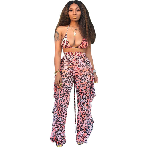Leopard Two-piece bikini ruffled wide-leg pants