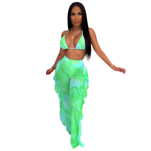 Green  Two-piece bikini ruffled wide-leg pants