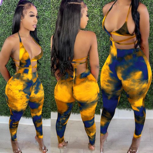 Yellow   Printed pencil pants suit nightclub outfit