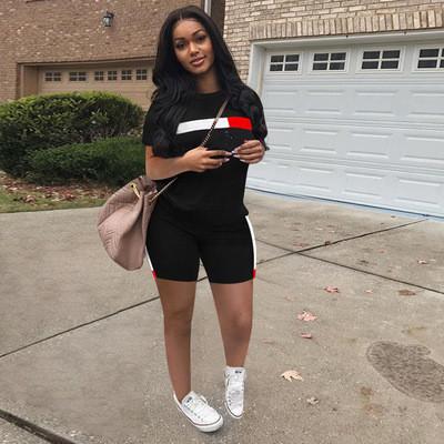 Black  Striped stitching short-sleeved shorts suit women