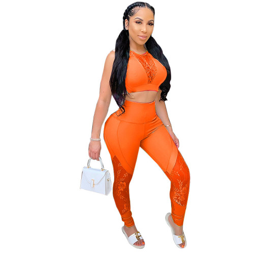 Orange Spring and summer new solid color lace stitching sexy top + pants suit