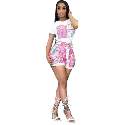 Rose red Women's fashion casual printing two-piece suit