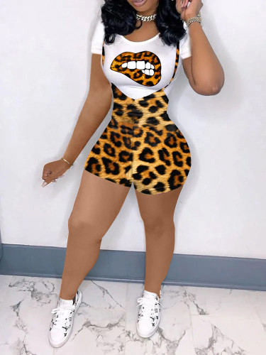 Two-piece fashion short sleeve printed leopard print suit