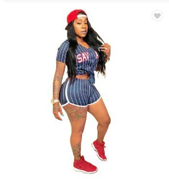 Bule Sexy women's striped alphabet baseball two-piece suit