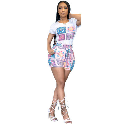 Women's fashion casual printing two-piece suit