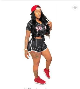 Black Sexy women's striped alphabet baseball two-piece suit