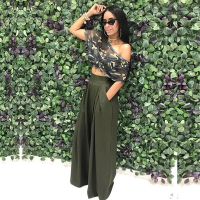 Army Green  Flared trousers wide leg casual pants