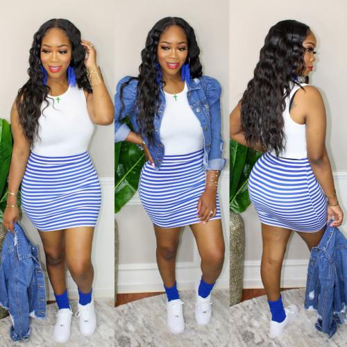 Blue Sleeveless dress ladies t skirt