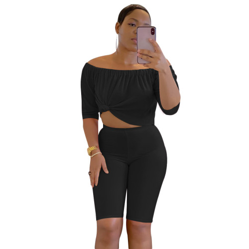 Black  Two-piece short-sleeved T-shirt five-point pants