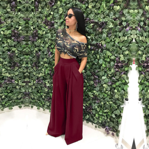 Wine red  Flared trousers wide leg casual pants
