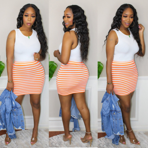 Orange   Sleeveless dress ladies t skirt