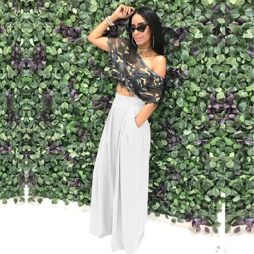 White   Flared trousers wide leg casual pants