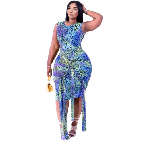 BlueFashion lace printed dress women