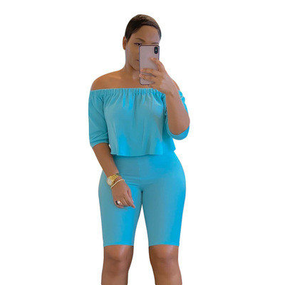 Blue Two-piece short-sleeved T-shirt five-point pants
