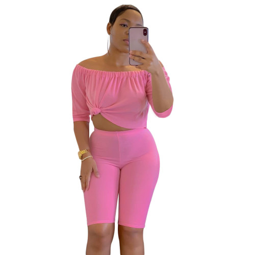 Pink  Two-piece short-sleeved T-shirt five-point pants