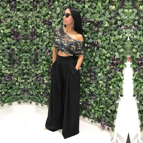 Black  Flared trousers wide leg casual pants