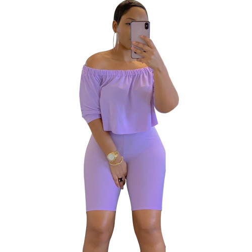 Purple  Two-piece short-sleeved T-shirt five-point pants