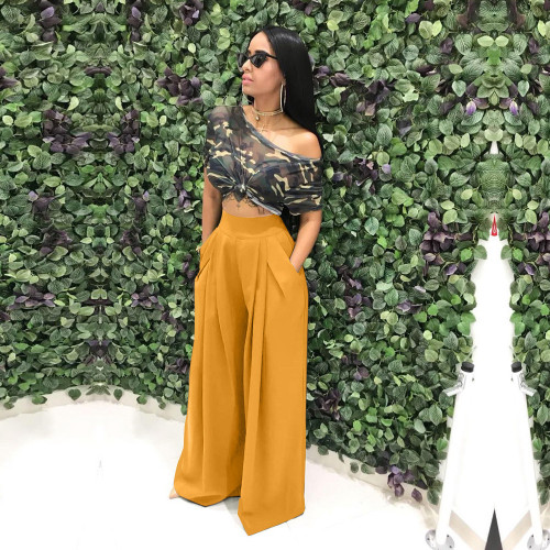 Yellow  Flared trousers wide leg casual pants