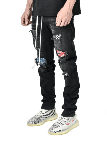 Slim fit ripped feet pants new style men's jeans