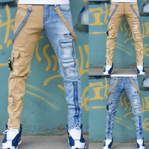 Slim-fit straight-leg pants with zipper cargo jeans