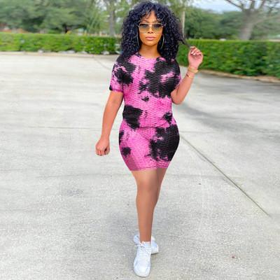 Black powder   Ink jacquard tie-dye short-sleeved yoga shorts suit women