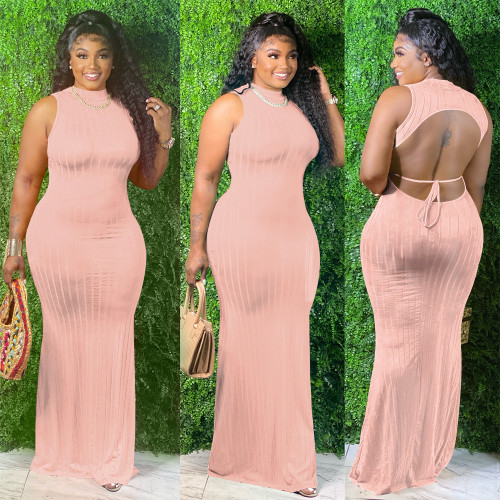 Pink   powder  Open back solid color pullover midi dress
