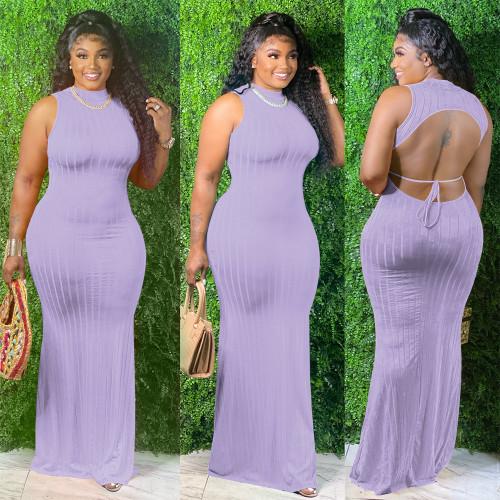 Purple  powder  Open back solid color pullover midi dress