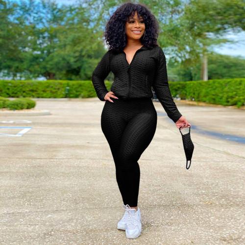 Black  Women's cardigan bubble yoga pants sports suit