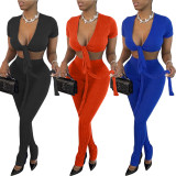 Two-piece set of multicolor pit strips wrapped chest and split trousers
