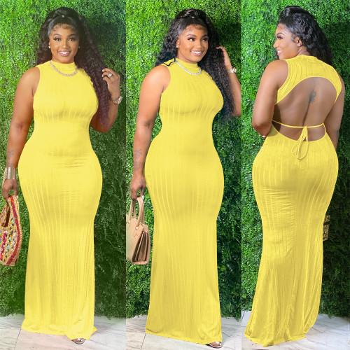 Yellow  powder  Open back solid color pullover midi dress