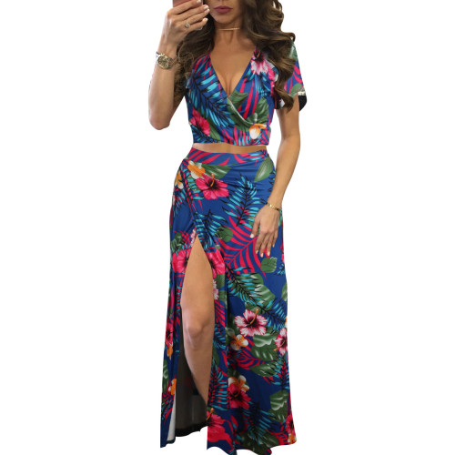 Classic floral hot sale two-piece dress