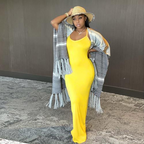 Yellow  Sling dress fashion temperament long skirt women