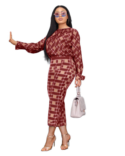 Autumn new style long-sleeved loose blouse + two-piece plaid pants